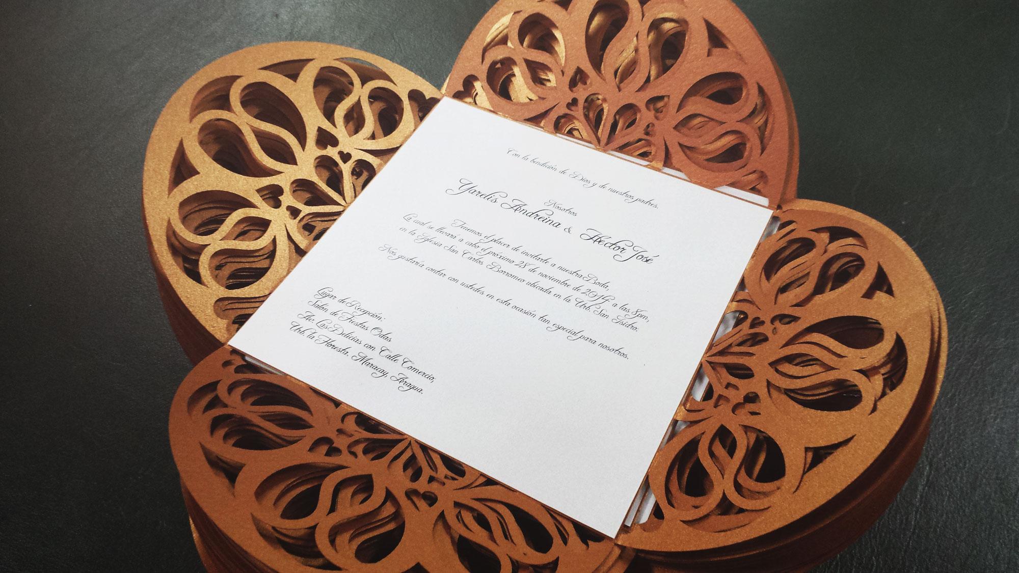 Invitación Matrimonio en corte laser
